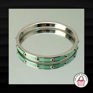 $98 COACH GREEN AND SILVER NICKEL STUDDED BRACELET